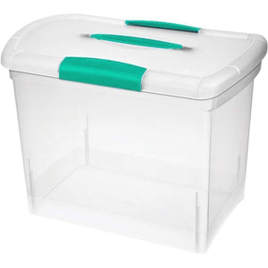 Portable File Storage Organizer Box Heavy Duty Sturdy with Lid for Filing Files, Letters, Folders, Spacious-School & Office Supplies - Transparent with Green Handles