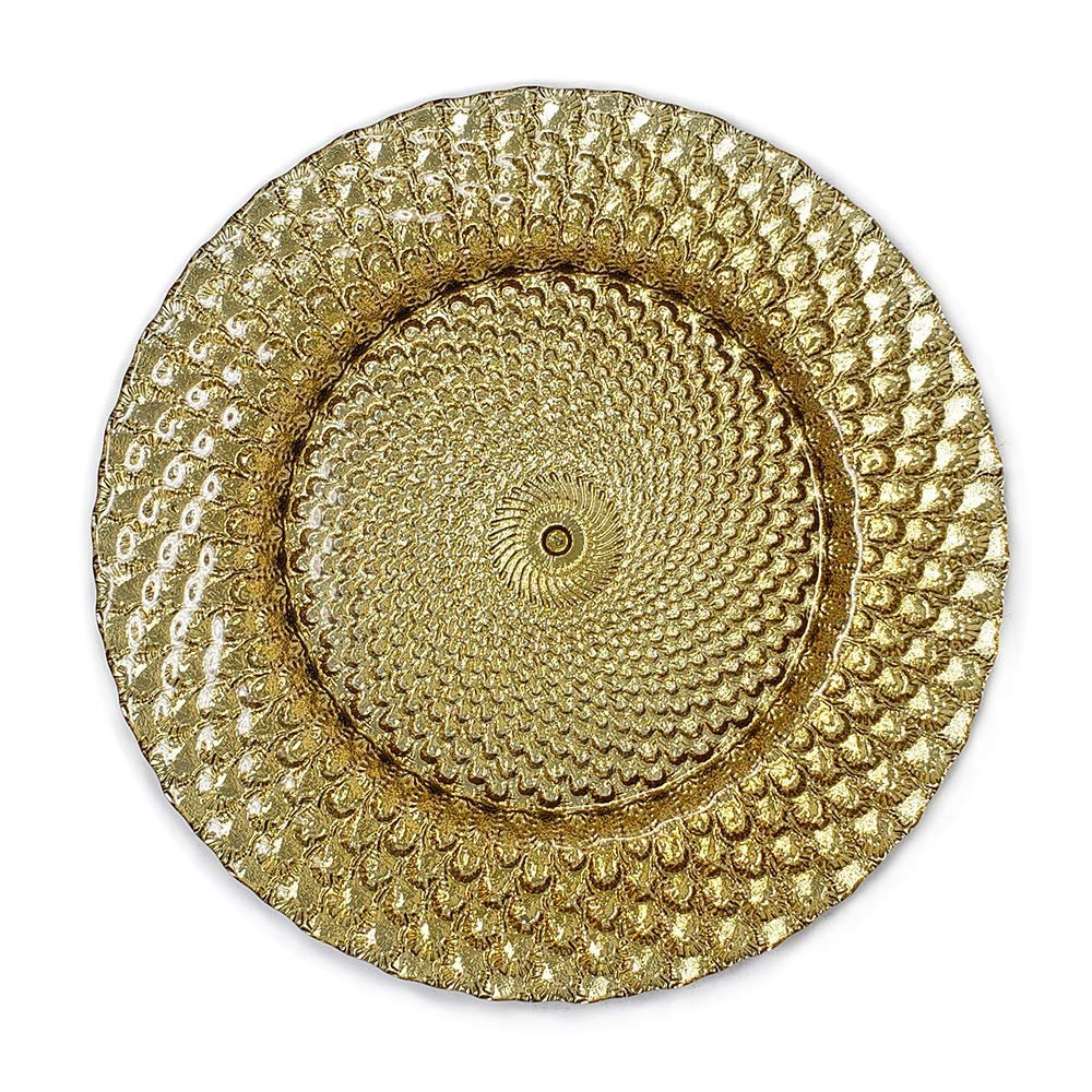 Lovely Glass Dinnerware Formal 13-Inch Beaded Rim Clear Glass Charger Plate Wedding Receptions Anniversary Dinners Modern Appeal Glass Plates (12, gold)