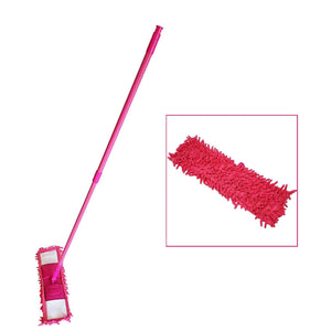 LavoHome Microfiber Dust Mop Head with Handle Telescoping Pole Floor Cleaner Noodle Mop-Pink
