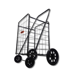 Extra Large Heavy Duty Folding All Purpose Utility Shopping Grocery Luggage Storage Cart Jumbo Size with Swivel Wheels-Capacity up to 150 lb, Black(Black Cart Only)