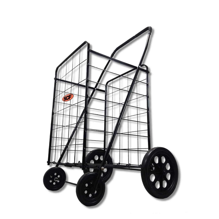 Folding All Purpose Utility Shopping Grocery Luggage Storage Cart with Swivel Wheels, Black
