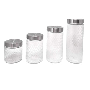 Italian Glass Cut Canister Jar Storage With Stainless Steel Airtight Lid - Set of 4 (Tea Coffee Cereal Sugar Nuts Flour Food Spices Flour Pasta)