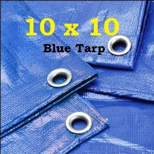 10' X 10' Premium Blue Multi-Purpose 6-mil Waterproof Poly Tarp Cover