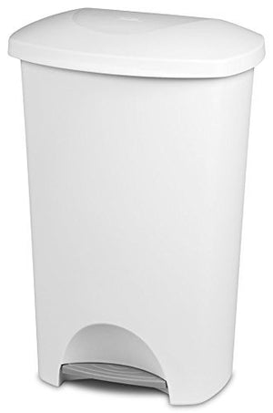 LavoHome Heavy Duty Sturdy 11 Gallon/42 L Capacity Step on Access Waste Basket Trash Can Recycle Bin with Lid Solid Color for Home Kitchen Office Janitorial Residential Industrial-White (1)