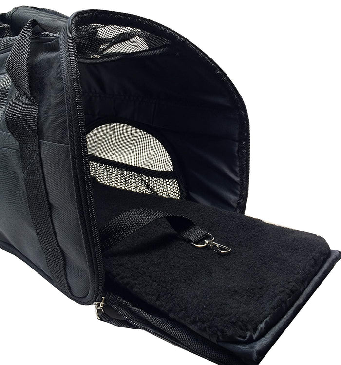 Small Black Carrier Soft Sided Cat / Dog Comfort Travel Tote Bag Extra Hanlde