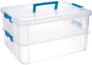 Stack and Carry 2 Layer Handle Box Clear With Blue Handle Storage Holder Bin