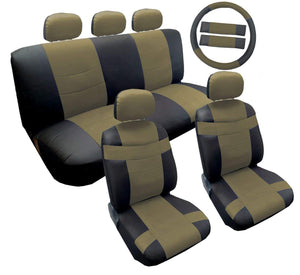 Two Tone Black and Tan Premium Synthetic PU Faux Leather Seat Cover Set 14pc