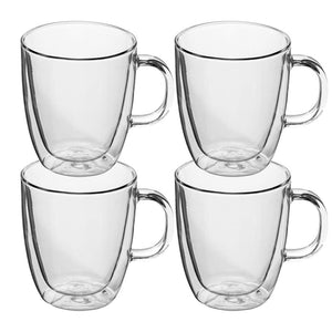 Set of 4 Strong Clear Double-Wall Borosilicate Large Glass Tea/Coffee Mug Set Heat-Resistant Cup w/Handle