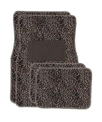 Tan Cheetah Carpet 4 Piece Car Truck SUV Floor Mats