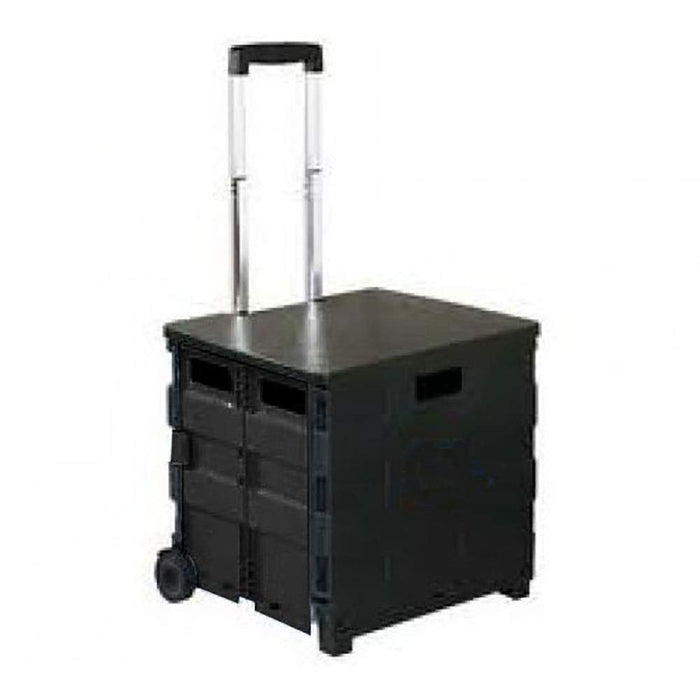 Unique Imports Collapsible Heavy-Duty Folding Office Cart with LID Mobile Filing Cart