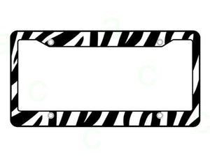 Plastic License Plate Frame Safari Animal Series - Zebra Black and White
