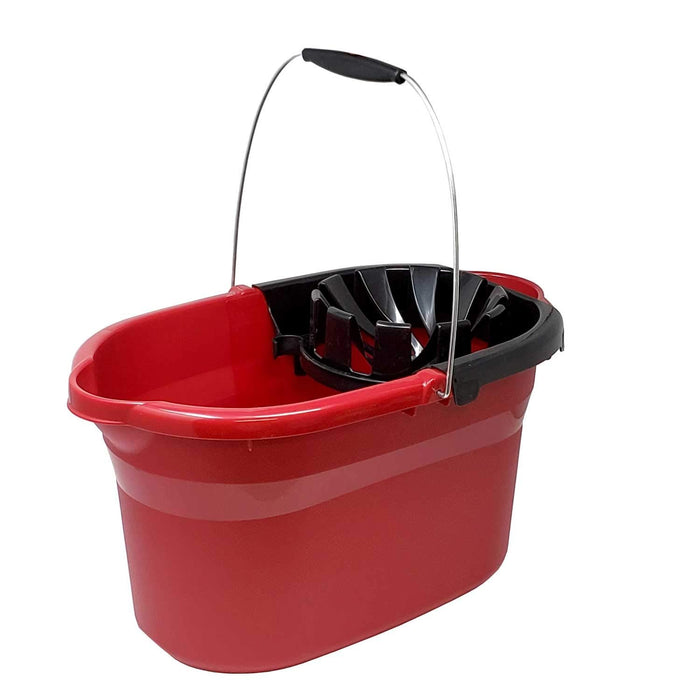 17.5 Quart 16.6 L Heavy Duty Sturdy Mop Black Wringer with Wire Handle & Grip Bucket Organizer for Cleaning Janitorial Supplies Household Projects Mopping Storage- Made in USA,Red