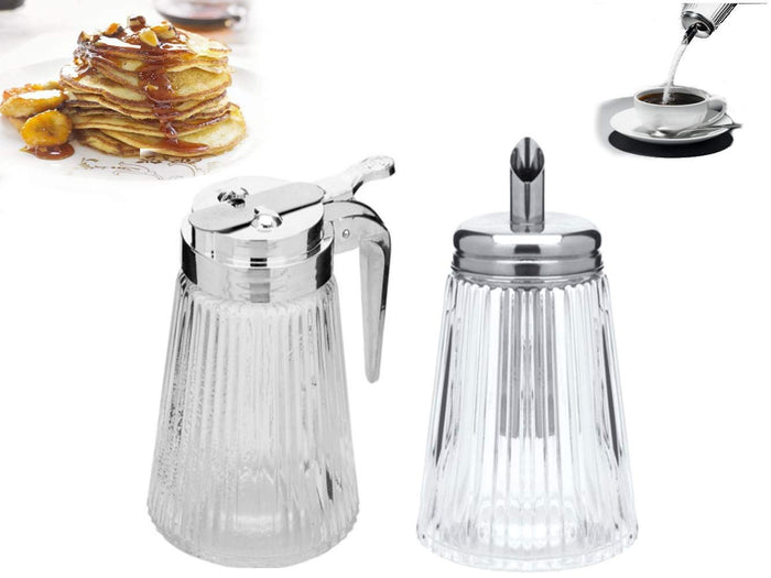 2pc Set of Sugar Pourer & Syrup Dispenser Restaurant Style Glass With Retracting Spout (Special Value Pack)