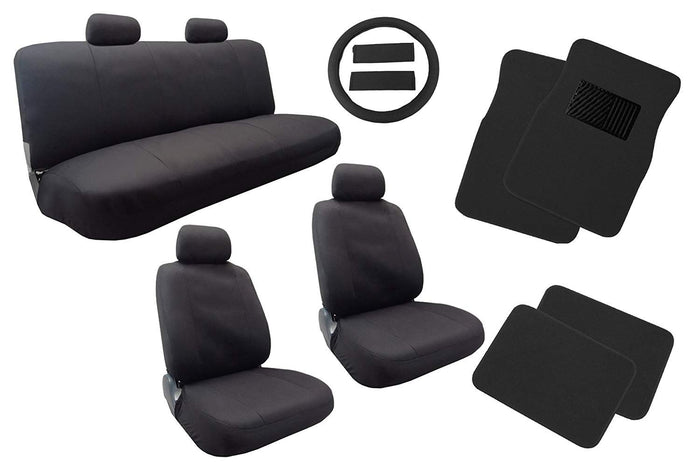 Unique Imports Classic Cloth Polyester Seat Covers Floor Mats Set Solid Black 13pc Set Front Pair Bench Steering Wheel Cover and Pads For Kia Soul