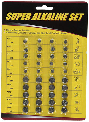 Simi 30-Pack High Power Assorted Alkaline button Cell Battery Kit