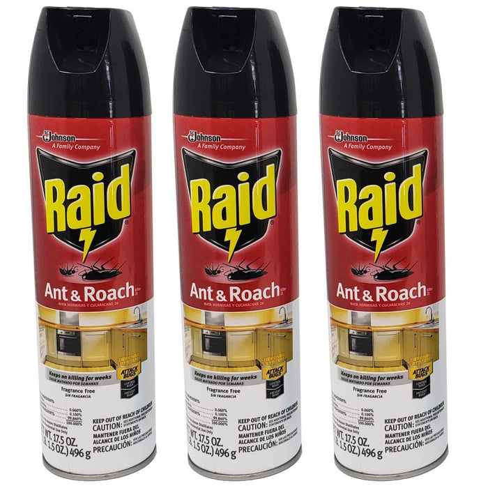 Lavo Home 3 Pack Raid Ant and Roach Bug Insect Killer-Fragrance Free, 17.5 OZ