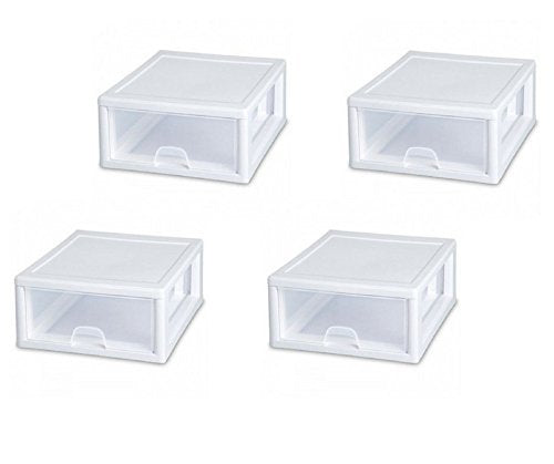 Sterilite 23018006 16 Quart Stacking Drawer, Clear (pack of 4)