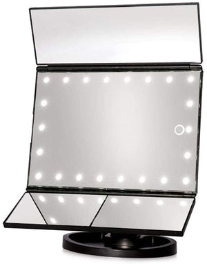 Makeup Mirror with 21 Led Lights 2X/3X Magnification & Touch Screen (Black)