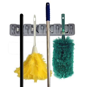 Mop and Broom Holder Wall Mounted Storage Organization Rack
