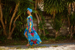 Andressa V ringad kaftan-Resort Collection