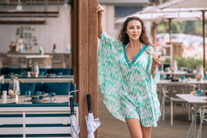 Slit Sleeves Lace up Kaftan - Resort Collection - www.kaandabeachlife.se