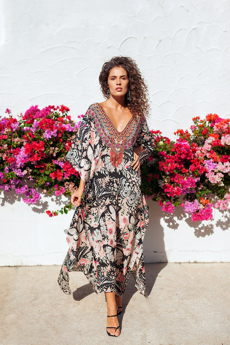 Pink Butterfly Godiva Maxi Kaftan - Resort Collection