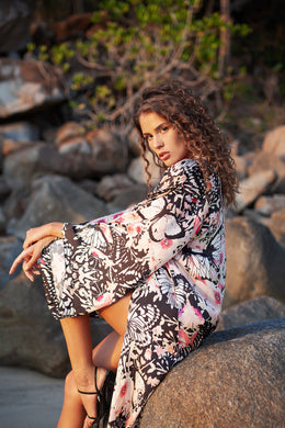 Pink Butterfly Long Kimono - Resort Collection