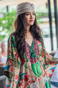 French Blossom Lace up Kaftan - Resort Collection