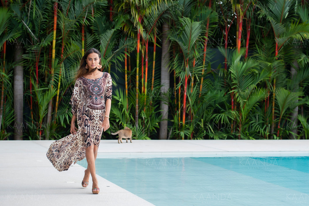 Stella Snake Kaftan lång/kort - Resort Collection - www.kaandabeachlife.se