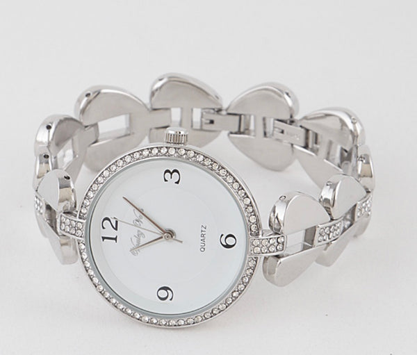 Rhinestone Heart Belt Watch