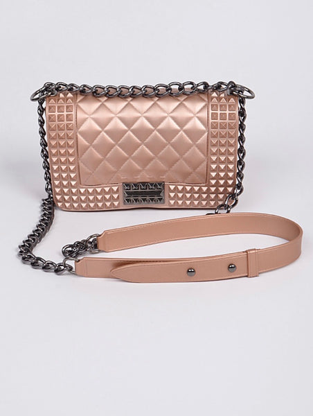 Jelly Studded Shape Monotone Clutch