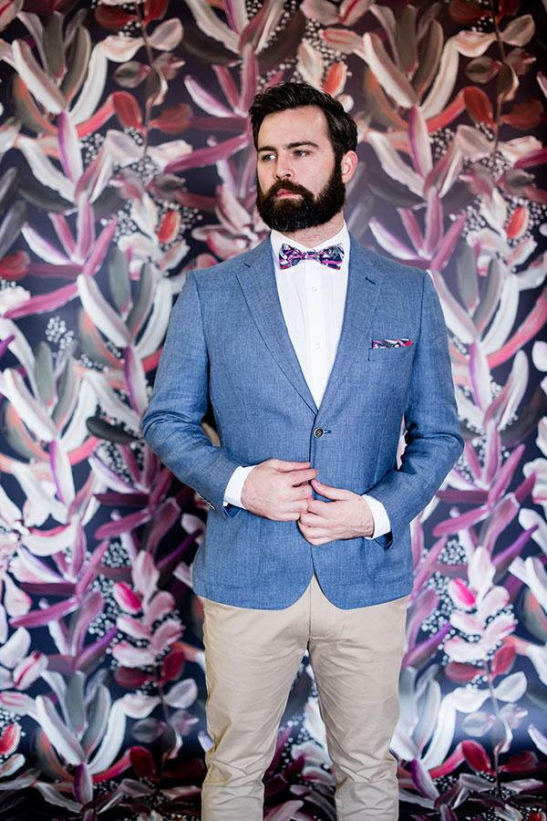 Pocket Square - Protea Navy