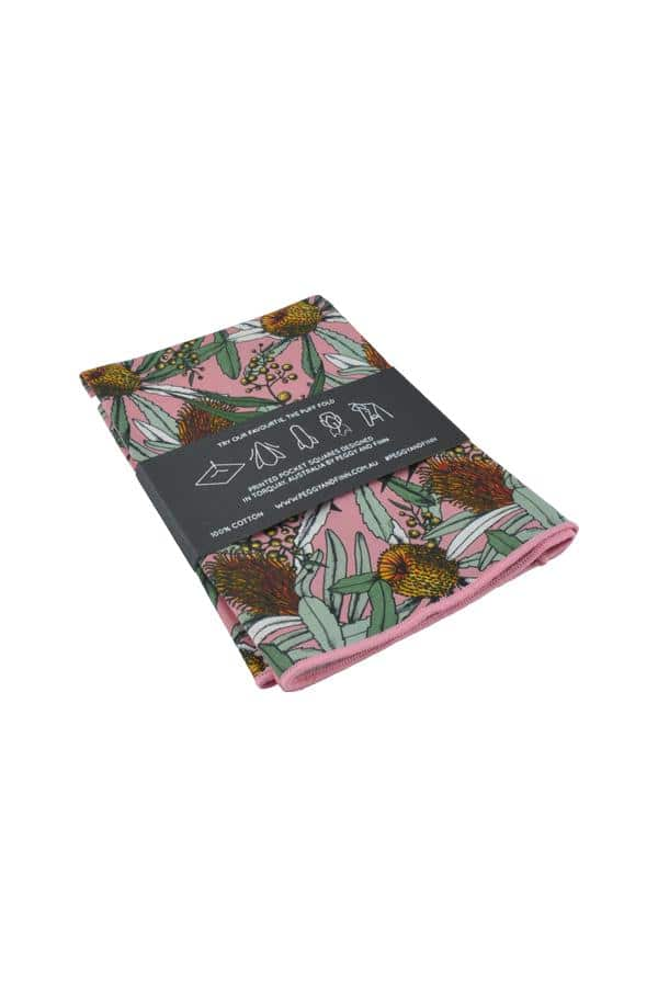 Pocket Square Banksia Pink Menswear