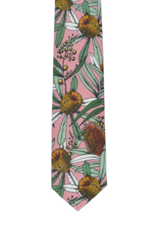 Cotton Tie-wedding-banksia-pink