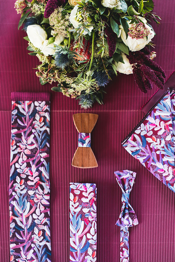 Wedding Tie - Protea Burgundy