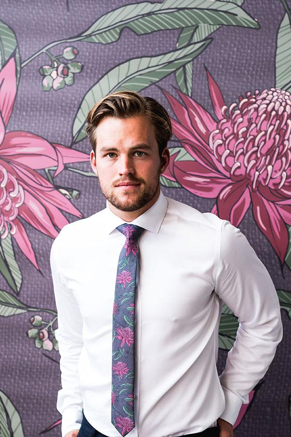 Cotton Tie Waratah Groom