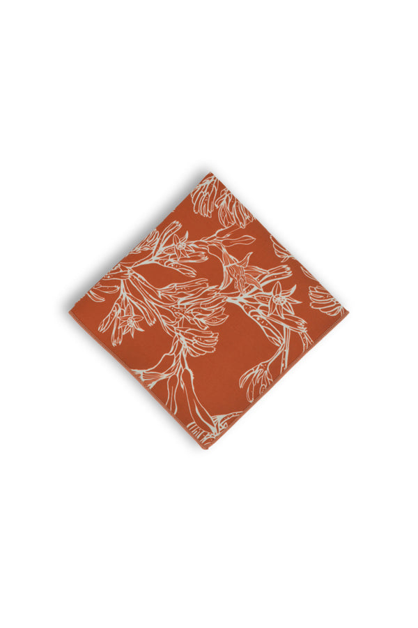 Pocket Square - Kangaroo Paw Burnt Orange