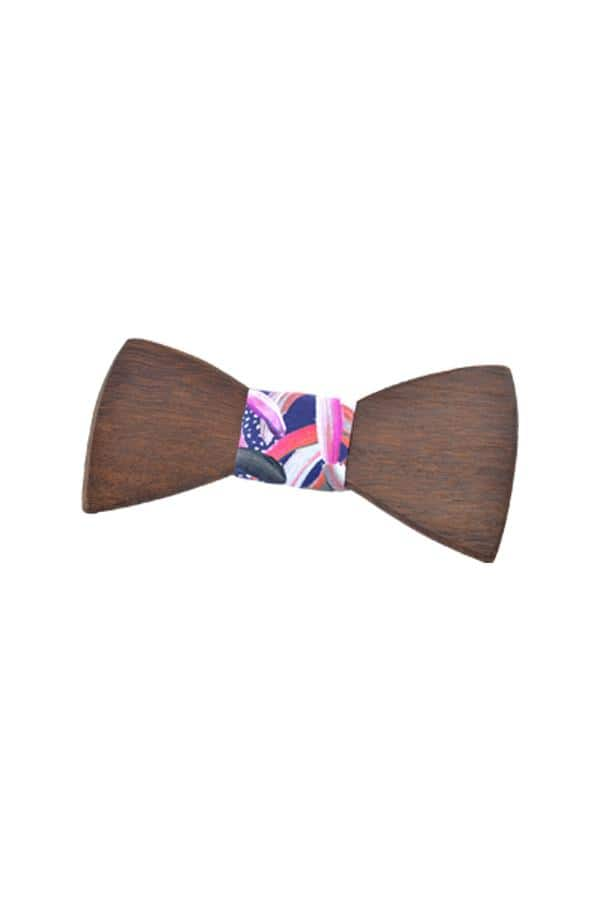 Wooden Bow Tie Protea Navy Roasted Blackbutt