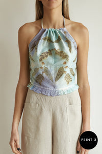 Ato top in shantung silk with eco print