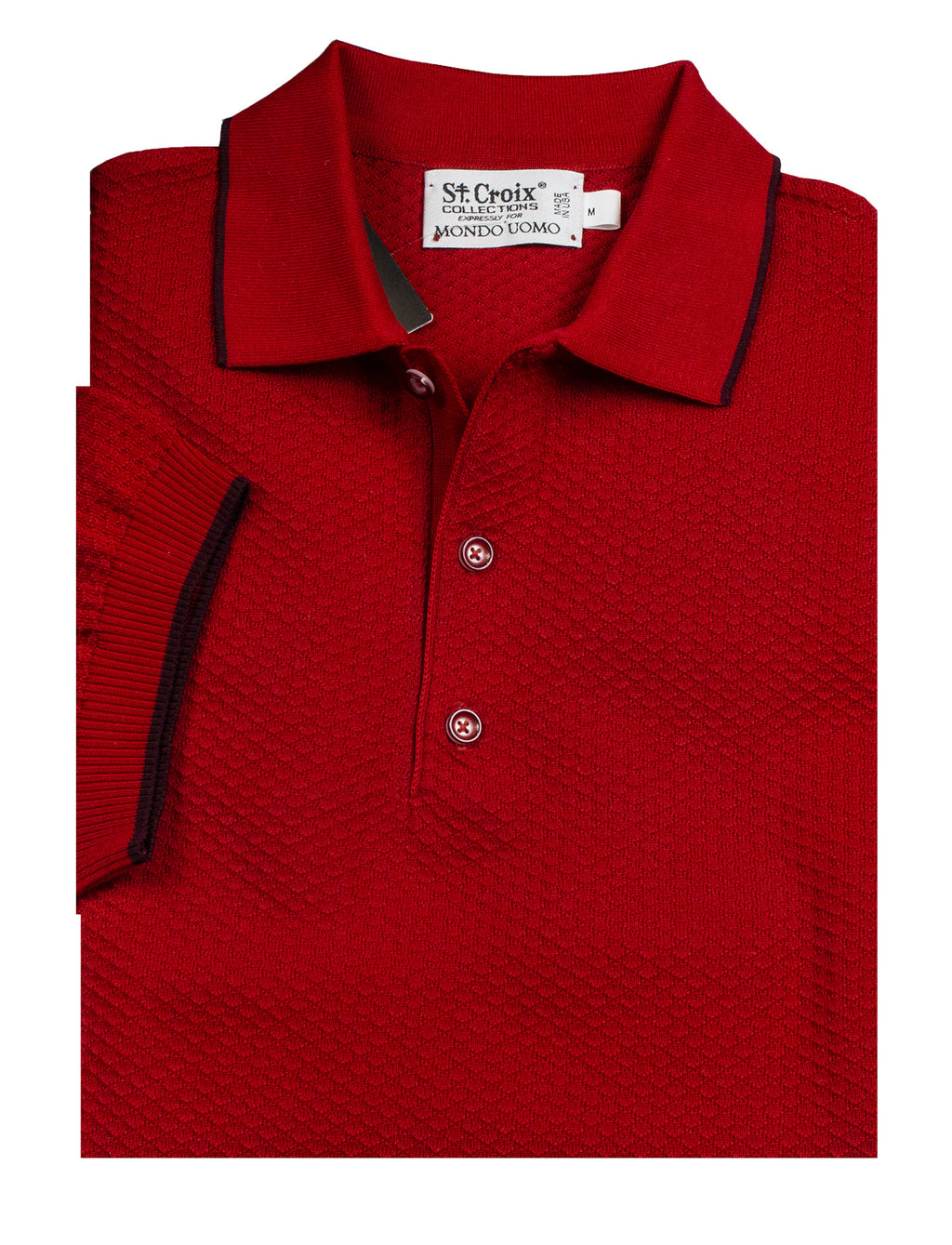 St Croix Polo Knit Red Waffle