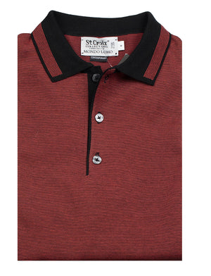 St Croix Polo Knit with Trim Red
