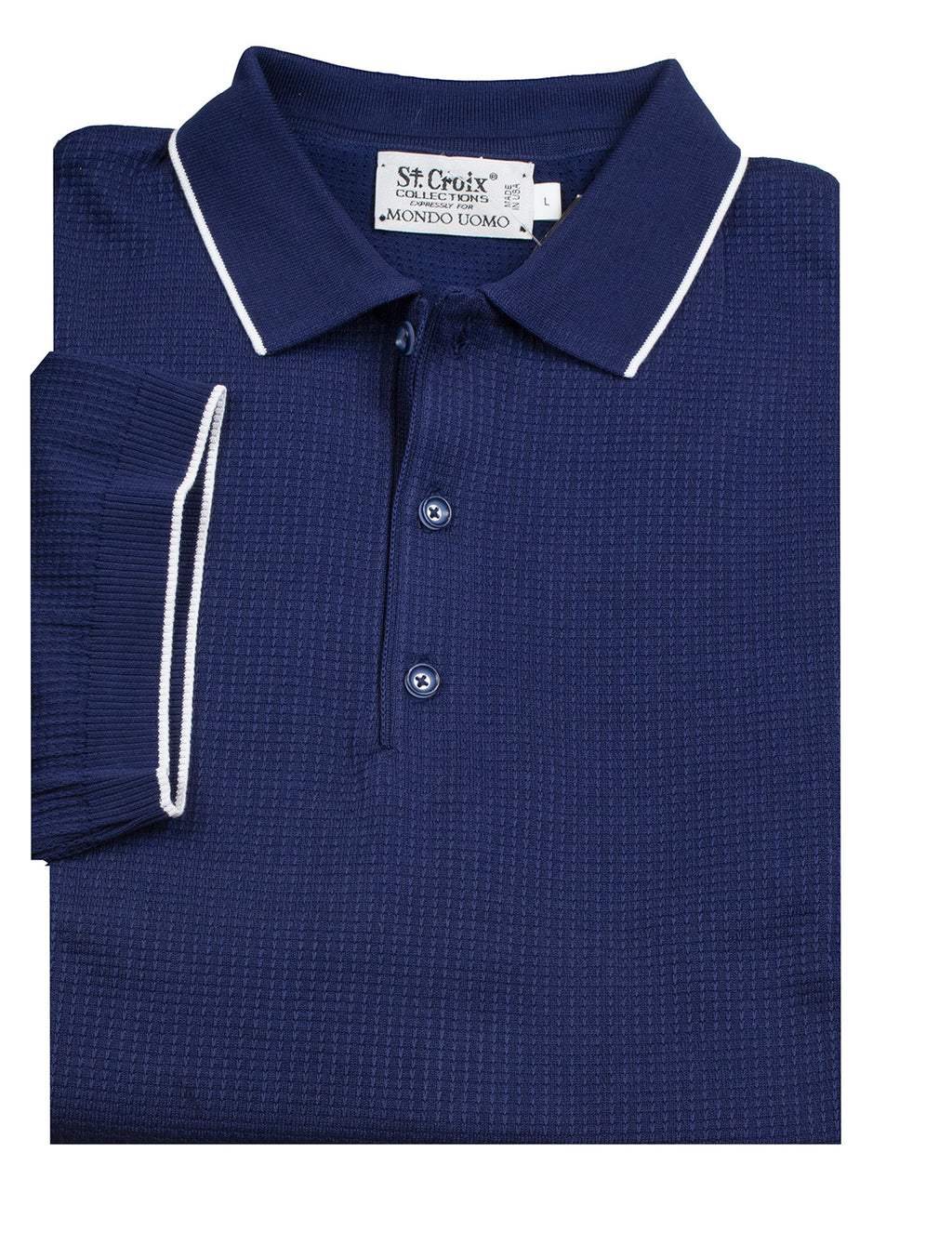 St Croix Polo Knit Navy Waffle