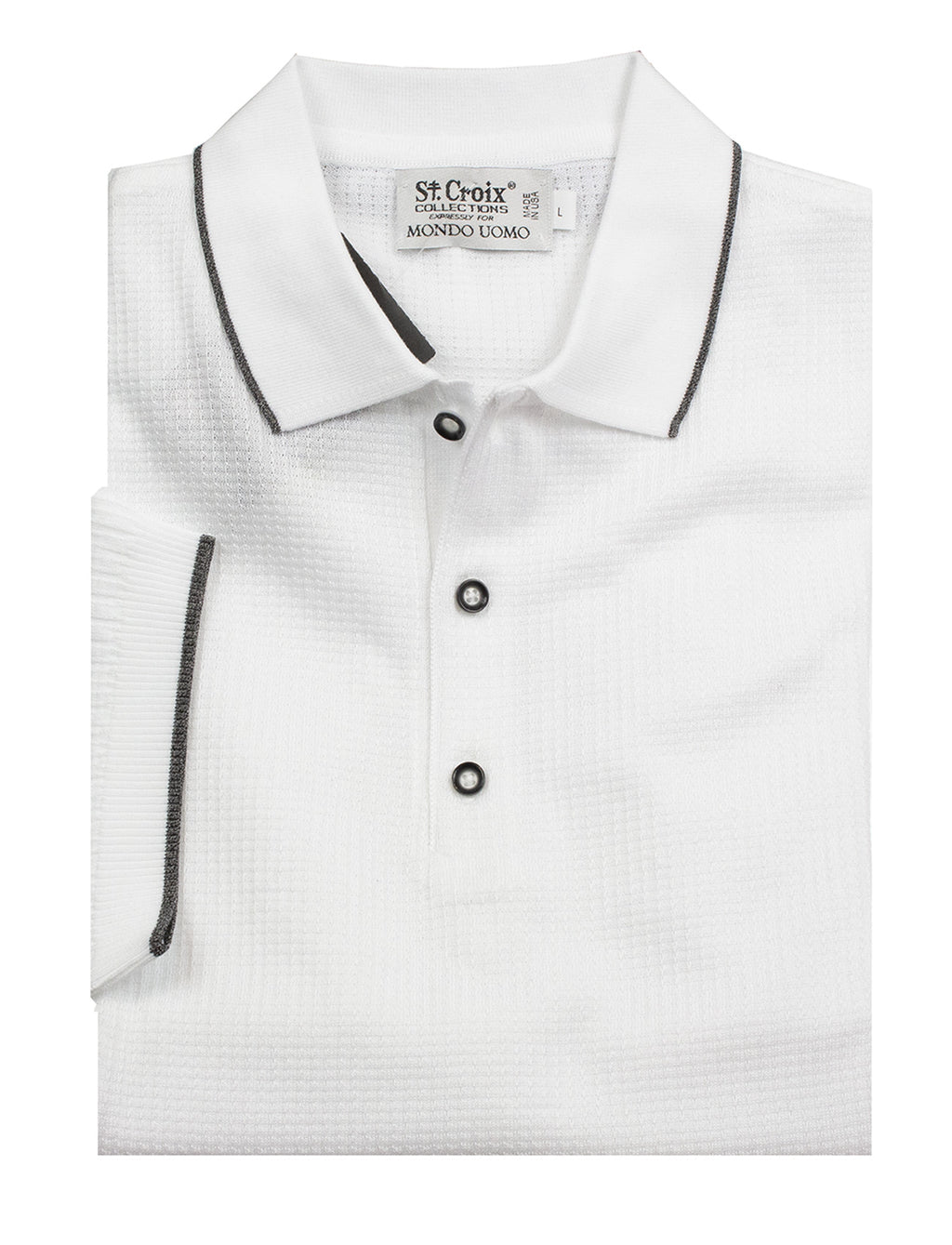 St Croix Polo Knit White Waffle