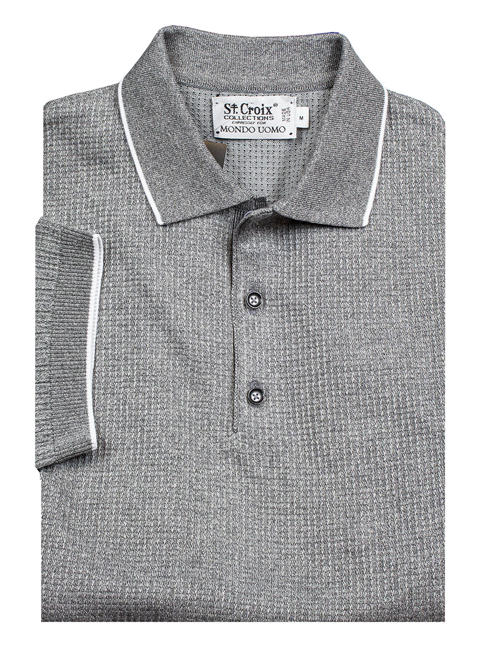 St Croix Polo Knit Dove Grey Waffle