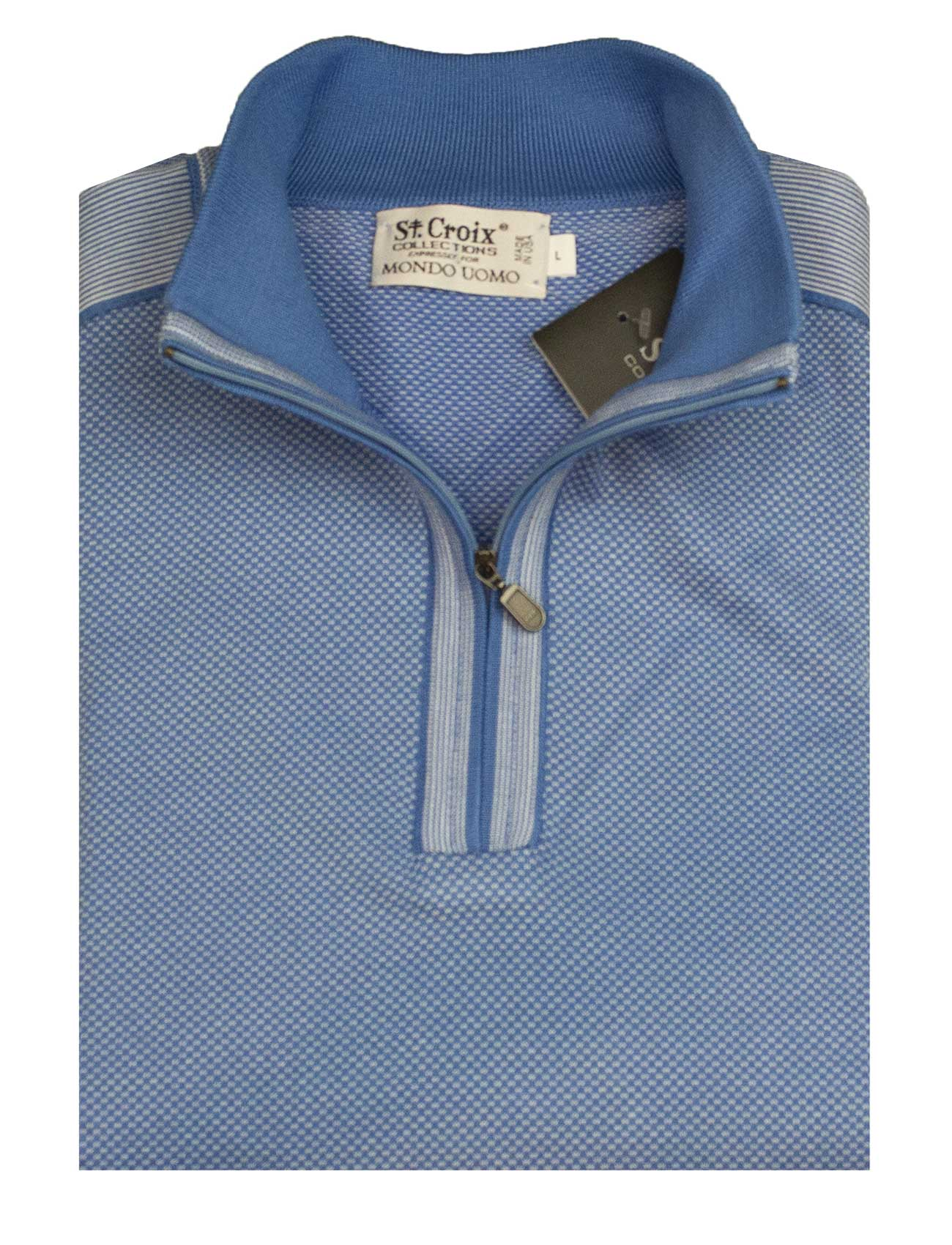 St Croix Sweater Zip Mock Coastal Blue