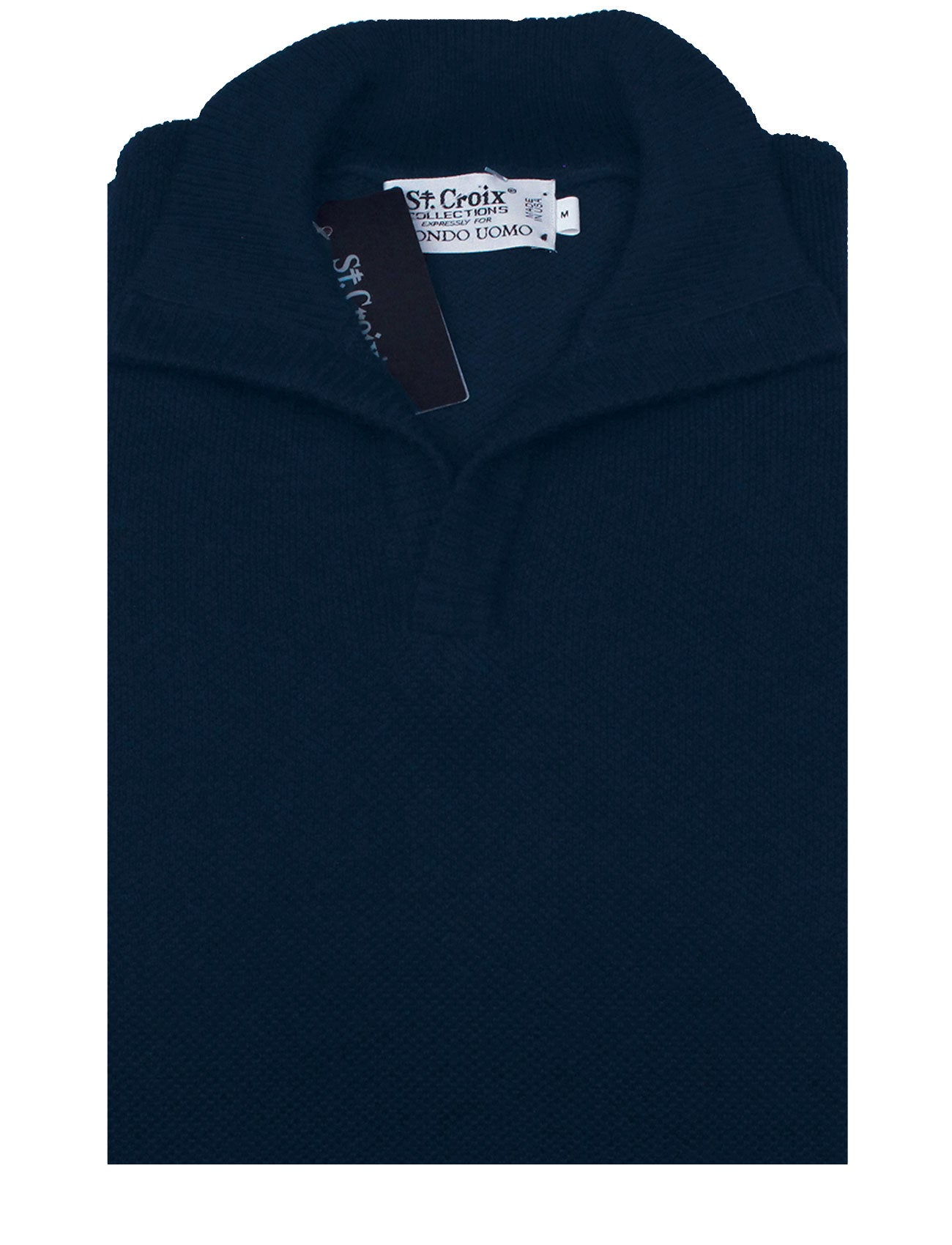 St Croix Sweater Open Mock Neck Navy