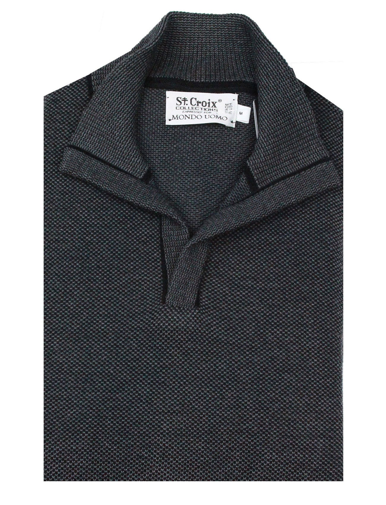 St Croix Sweater Open Mock Neck Black Lead