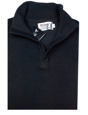 St Croix Sweater Open Mock  Black