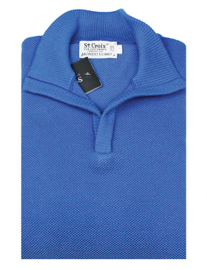 St Croix Sweater Open Mock Neck Bright Blue