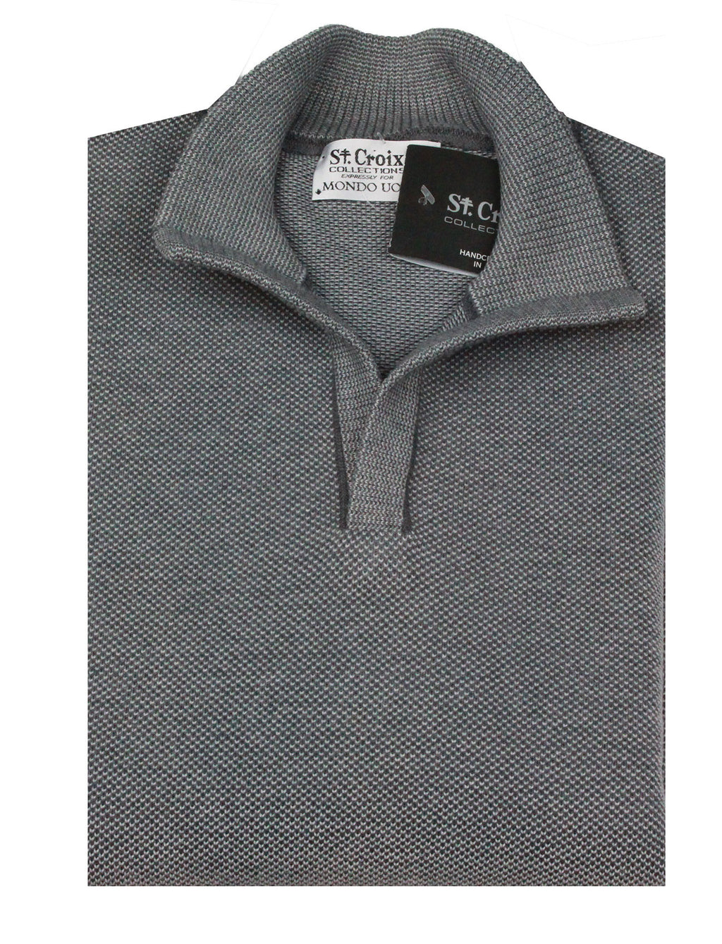 St Croix Sweater Open Mock  Lead Marl